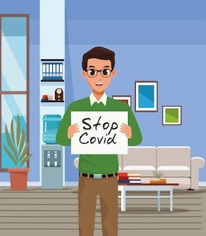 Uomo d'affari con il carattere del cartello stop covid19