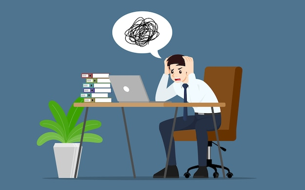 Uomo d'affari con un'emozione di stress in ufficio.