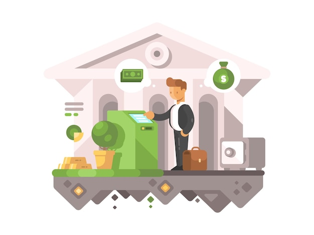 L'uomo d'affari preleva denaro dal bancomat. transazioni finanziarie in banche. illustrazione