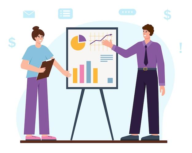 Uomo d'affari e donna accanto alla lavagna a fogli mobili analisi aziendale e concetto di avvio del seminario di pianificazione