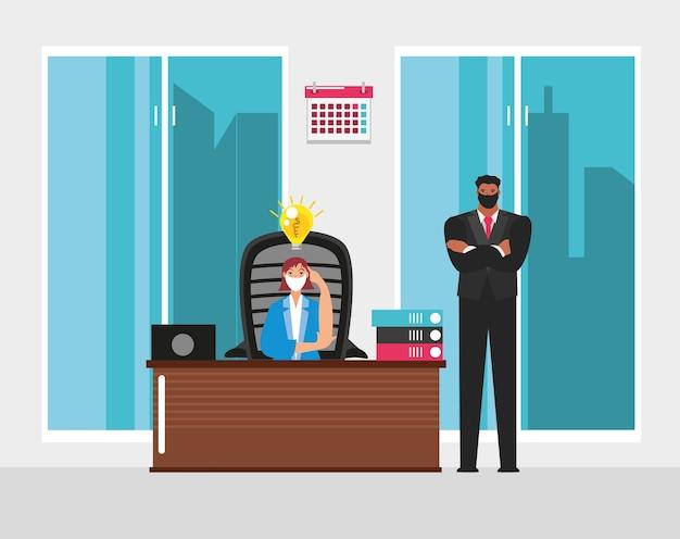 Uomo d'affari e donna in ufficio con scrivania e illustrazione del computer portatile