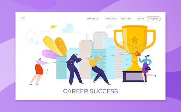 Illustrazione del trofeo di successo della gente della donna dell'uomo d'affari