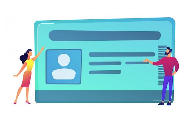 Uomo d'affari e donna che indicano all'illustrazione di vettore della carta di identità.