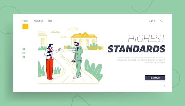 Imprenditore e donna agente immobiliare concordano il tour della casa stand presso edifici cottage in campagna modello di pagina di destinazione