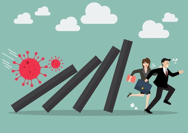 Uomo d'affari e donna che scappano dalle tessere del domino che cadono nel collasso economico dal virus covid-19. concetto di affari