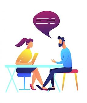 Illustrazione di conversazione di vettore della donna e dell'uomo d'affari.