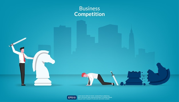L'uomo d'affari ha vinto contro un altro nel concetto di lotta.