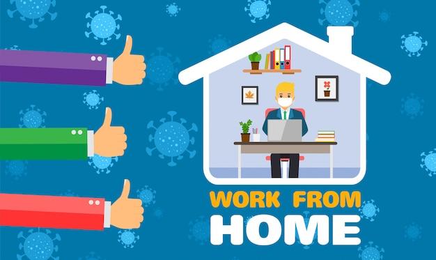 Lavoro dell'uomo d'affari per la casa, prevenzione del coronavirus.