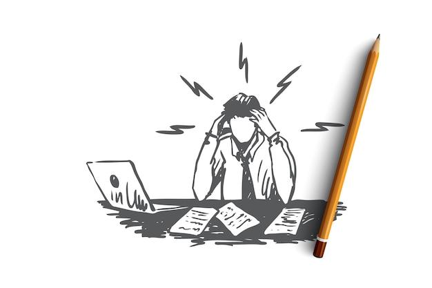 Uomo d'affari, lavoro, stress, concetto di relazione finanziaria. disegnato a mano uomo sconvolto al posto di lavoro con schizzo di concetto di computer portatile