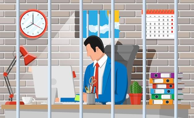 Uomo d'affari che lavora al computer nella cella di prigione. uomo d'affari oberato di lavoro in prigione. stress sul lavoro. burocrazia, scartoffie, scadenze e scartoffie. illustrazione vettoriale in stile piatto