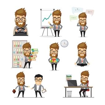 Insieme di giorno lavorativo dell'uomo d'affari. uomo d'affari giovane hipster in varie situazioni lavorative. illustrazione in design piatto.
