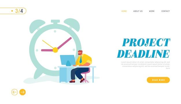Pagina di destinazione del sito web del processo di lavoro dell'uomo d'affari.