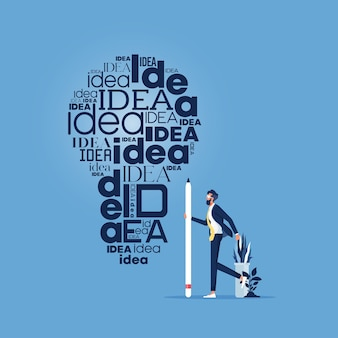 L'uomo d'affari scrive molte volte l'idea di parola sul muro