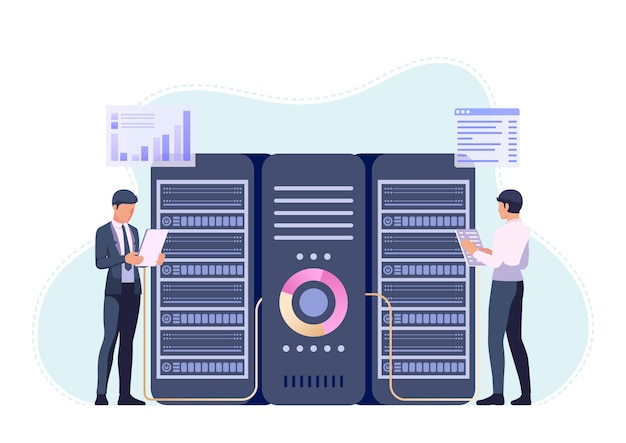 Imprenditori o ingegnere che lavora nella sala del centro dati. gestione del server e concetto di manutenzione del sistema di database.