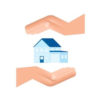 Mano dell'uomo d'affari che tiene una casa concetto immobiliare di proprietà in affitto per la casa