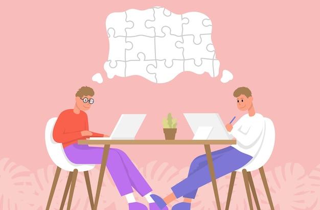 Imprenditori seduti su una sedia da ufficio a un puzzle da scrivania per la soluzione del team aziendale in collaborazione