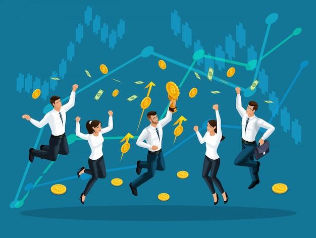 Gli uomini d'affari saltano e si godono i grandi soldi che vengono serviti dal cielo sullo sfondo dei grafici di crescita degli utili. illustrazione di un finanziario