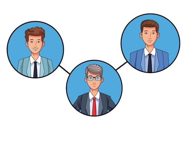 Immagine del profilo avatar uomini d'affari in icone rotonde
