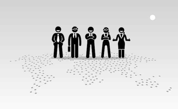 Uomini d'affari e donne di affari in piedi sulla cima di una mappa del mondo.