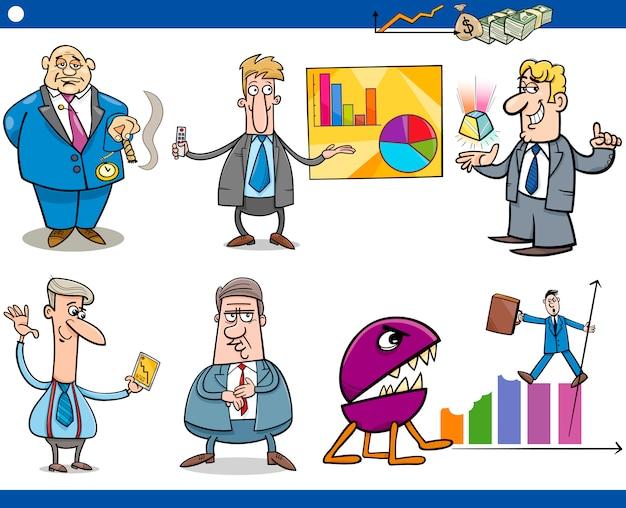Insieme di concetti del fumetto di uomini d'affari