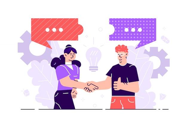 Gli uomini d'affari discutono di social network, notizie, social network, chat, dialoghi, bolle di discorso, puzzle di pensieri. illustrazione