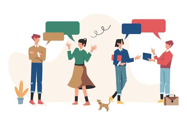 Uomini d'affari che discutono di social network, notizie, social network, chat, dialogo