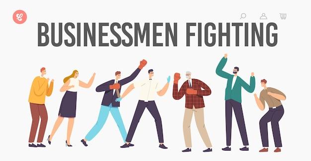 Uomini d'affari che combattono il modello di pagina di destinazione. i personaggi in guantoni da boxe combattono con arbitro e colleghi che applaudono. combattimento degli uomini, concorrenza di uomini d'affari per la leadership. fumetto illustrazione vettoriale