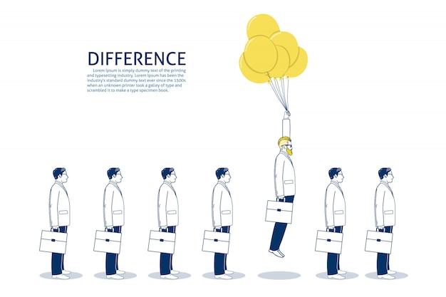 Uomini d'affari che volano con palloncini. modello di testo