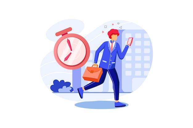 Gli uomini d'affari vanno a lavorare, persona in ritardo utilizzando lo smartphone