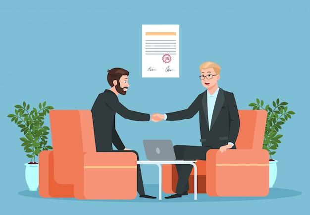 Handshake degli uomini d'affari dopo la firma dell'accordo
