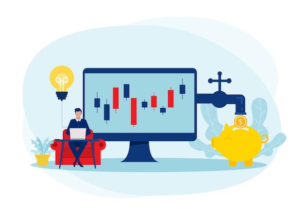 Gli uomini d'affari investono il mercato azionario con la freccia crescono il profitto di reddito concetto di reddito passivo, illustrazioni.