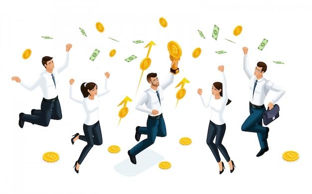Gli uomini d'affari saltano e godono dei grandi soldi che vengono serviti dal cielo. il concetto di fare soldi. illustrazione di un investitore finanziario