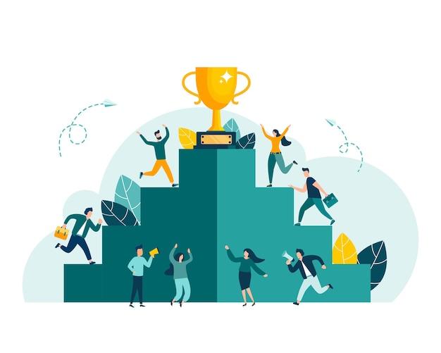 Gli uomini d'affari salgono la scala verso l'obiettivo sotto forma di una carriera in coppa d'oro che pianifica il percorso