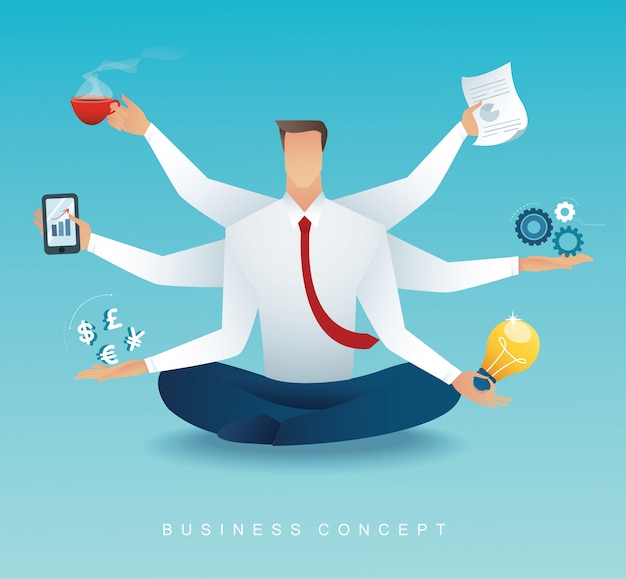 Gli uomini d'affari multitasking duro lavoro da sei braccia