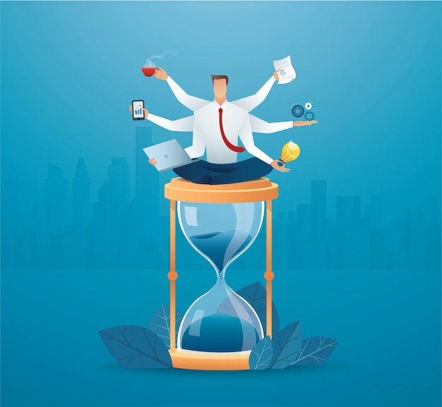 Uomini d'affari multitasking sulla clessidra. concetto di lavorare sodo