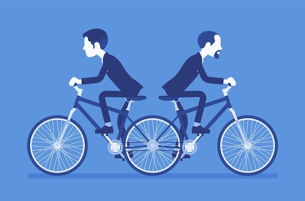 Gli uomini d'affari che guidano spingono me ti spingono in bicicletta in tandem. manager maschi ambiziosi in disaccordo, incapaci di lavorare insieme muovendosi in modi diversi. illustrazione vettoriale, personaggi senza volto
