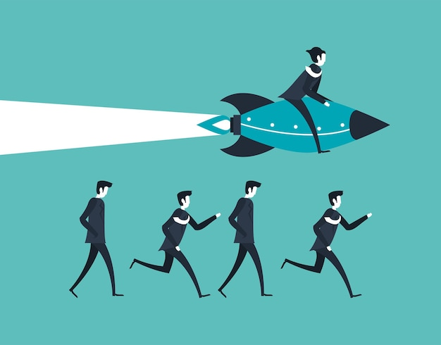Uomini d'affari che corrono e volano