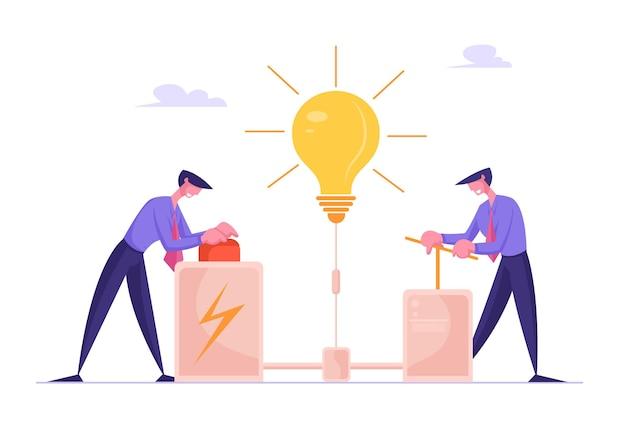 Uomini d'affari alla ricerca del concetto di idea creativa uomini d'affari spingono enorme braccio della leva