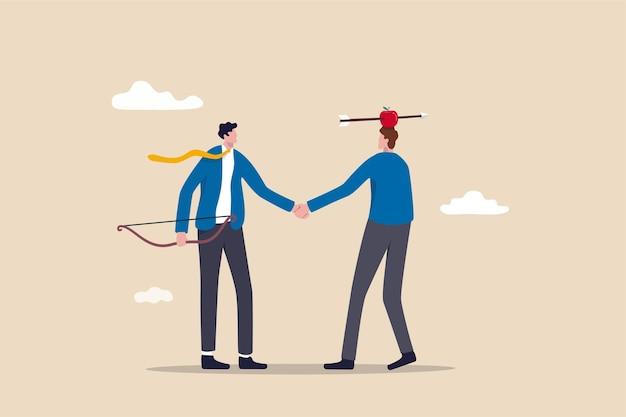 Uomini d'affari si stringono la mano accordo dopo aver finito spettacolo di tiro con l'arco rischioso colpo di mela.