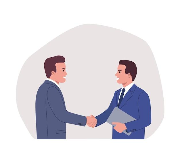 Uomini d'affari che si stringono la mano. stretta di mano dei partner commerciali.