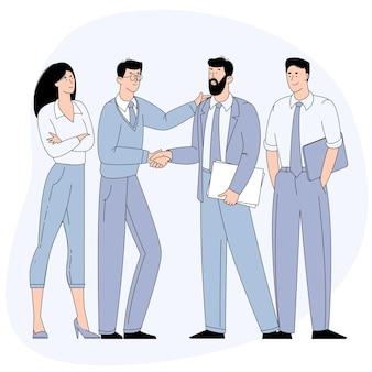 Uomini d'affari che agitano le mani