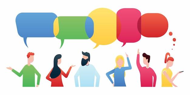La rete di conversazioni sociali di uomini d'affari discute chat o dialoghi sui social network