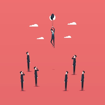 Uomini d'affari in piedi e fluttuanti