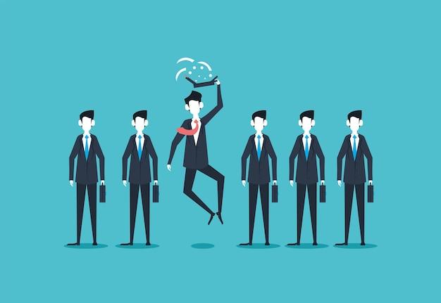 Uomini d'affari in piedi e saltando