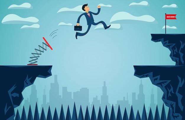 Gli uomini d'affari che saltano dal trampolino dall'altra parte della scogliera raggiungono l'obiettivo del successo aziendale