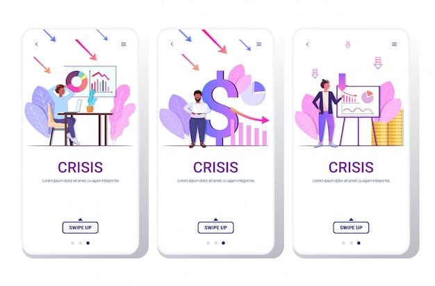 Persone di affari che analizzano i grafici discendenti frustrati circa la freccia economica che cade il concetto di fallimento del telefono di crisi finanziaria schermi mobili app orizzontale della raccolta