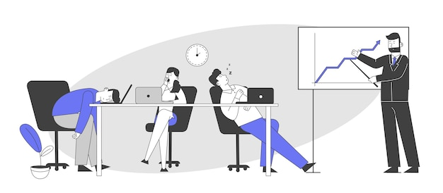 Uomini d'affari noioso alla riunione o alla presentazione