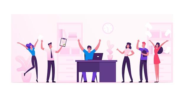 Gli imprenditori celebrano lo sviluppo del progetto e raggiungono l'obiettivo in ufficio. cartoon illustrazione piatta