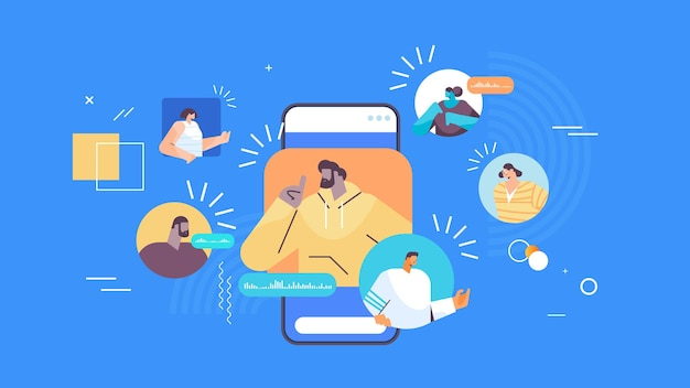 Imprenditori che comunicano in messaggistica istantanea tramite messaggi vocali applicazione di chat audio social media concetto di comunicazione online illustrazione vettoriale orizzontale