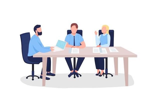 Uomini d'affari piatto. uomini e donne alla formazione professionale sul marketing.